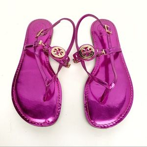 Tory Burch Sandals, Fuchsia Metallic Mirror, 8 NIB